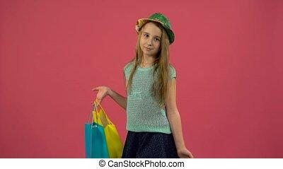 핑크, shopping., 은 사랑한다, 그녀, shopaholic, 가방, 구두, 배경, 소녀, 도착한다...
