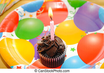 하나, 초콜릿 과자, 생일, 컵케이크