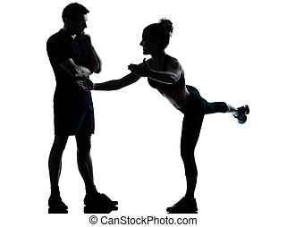 하나, 한 쌍, 사람 여성, 운동시키는 것, 연습, 적당