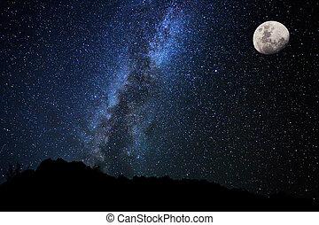 하늘, 밤, 길, 은 주연시킨다, 젖을 섞은, 은하
