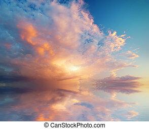 하늘, 배경, 통하고 있는, sunset.