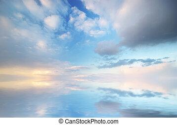 하늘, 배경, sunset.