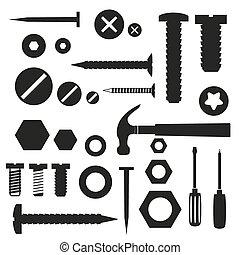 하드웨어, 나사, 와..., 손톱, 와, 도구, 상징, eps10