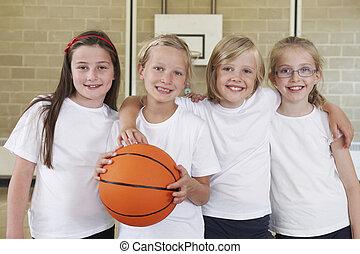 학교, 농구, 체조, 운동회, 여성, 팀
