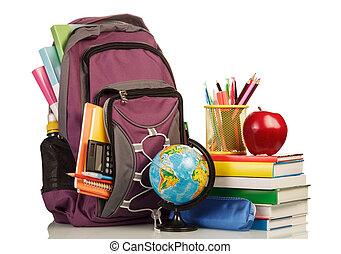 학교, 배낭, 와, 학교 공급