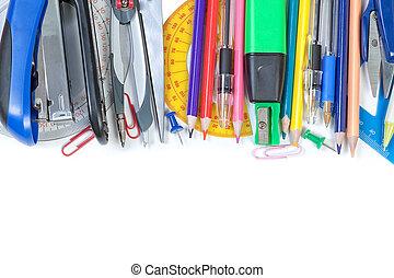 학교, frame., 다채로운, 배경., close-up., 공급, 백색