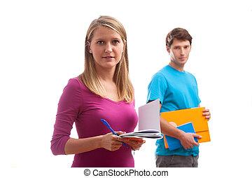 학생, 와, 노트북