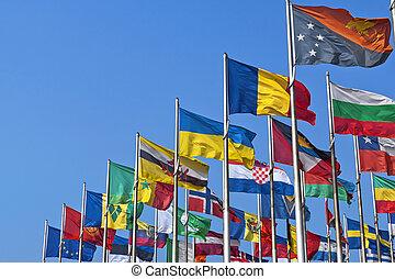한 나라를 상징하는, 기, 의, 다른, 나라