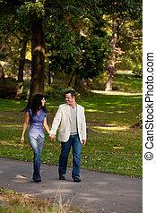 한 쌍, 걷다, 공원