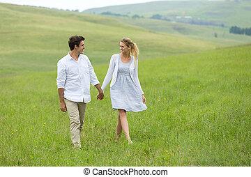한 쌍 걷, 통하고 있는, 시골