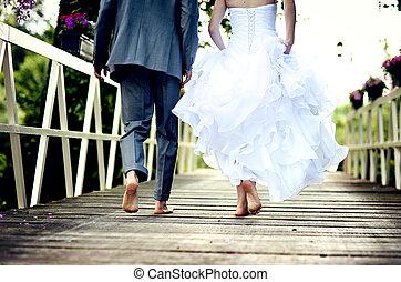 한 쌍, 결혼식, 아름다운