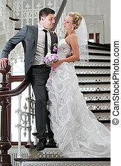 한 쌍, 계단, 결혼식