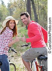 한 쌍, 구, bicycles, 에서, 시골