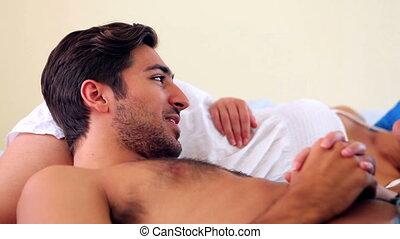 한 쌍, 귀여운, 웃음, 있는 것, 침대