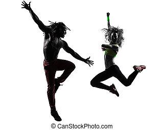 한 쌍, 남자와 여자, 운동시키는 것, 적당, zumba, 댄스, 에서, 실루엣, 백색 위에서, 배경