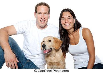 한 쌍, 사랑안에, 강아지, 개, 골든 리트리버