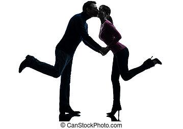 한 쌍, 여자, 남자, 연인, 키스하는 것, 실루엣