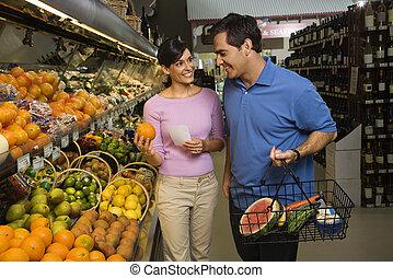 한 쌍, grocery, shopping.