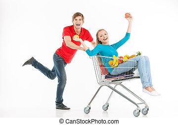 한 쌍, shopping., 충분한 길이, 의, 쾌활한, 젊음 한 쌍, 쇼핑, 동안, 고립된, 백색 위에서