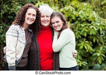 할머니, 딸, 와..., 손녀