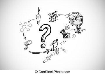 합성물 심상, 의, 물음표, 와, 지구, 와..., 이익, doodles