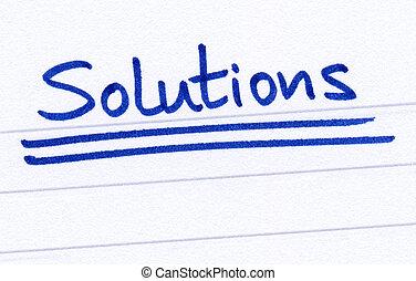 해결, 써진다, 와, 블루 잉크, 백색 위에서, paper.