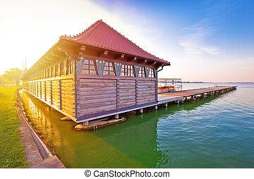 해돋이, 에, palic, 호수, 멍청한, 숙녀, 바닷가, 공간으로 가까이, serbian, 도시, 의, subotica, 보이는 상태