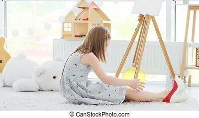 해봄, 소녀, 구두, 거의, 발꿈치로 바닥을 구르다