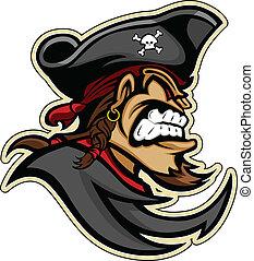 해적, raider, 또는, 해적, 머리, 와, 모자, 와..., 염소 수염 턱수염, 문자로 쓰는,...