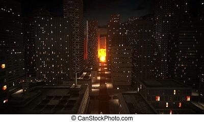 핵의 폭발, 에서, 도시