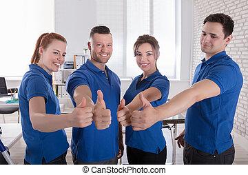 행복하다, 관리인, 전시, 위로 엄지손가락, 표시