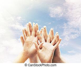 행복하다, 그룹, 의, 손가락
