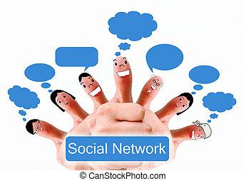 행복하다, 그룹, 의, 손가락, 얼굴, 가령...와 같은, 친목회, 네트워크, 와, 연설