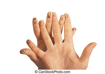 행복하다, 그룹, 의, 손가락, smileys