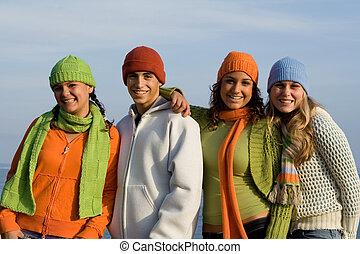 행복하다, 그룹, 의, 10대, 젊음, 열대의 소년
