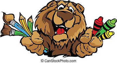 행복하다, 보육원, 곰, 마스코트, 만화, 벡터, 심상