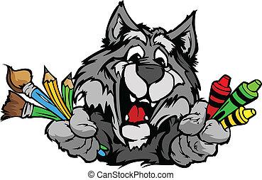 행복하다, 보육원, 늑대, 마스코트, 만화, 벡터, 심상
