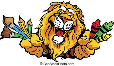 행복하다, 보육원, 사자, 마스코트, 만화, 벡터, 심상