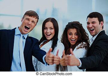 행복하다, 비즈니스 팀, 와, 위로의엄지, 에서, 그만큼, 사무실.