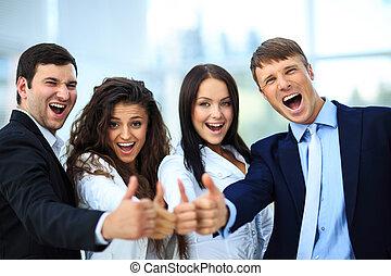 행복하다, 비즈니스 팀, 와, 위로의엄지, 에서, 사무실