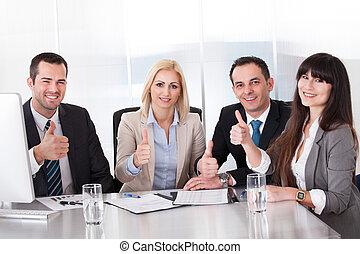 행복하다, 비즈니스 팀, 전시, 위로 엄지손가락, 표시