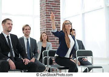행복하다, 비즈니스 팀, 착석, 연속적으로, 에, 사무실.