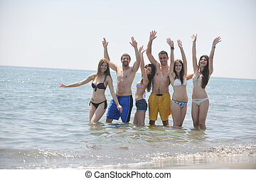 행복하다, 사람, 그룹, 재미를 가지고 있어라, 와..., 달리기, 통하고 있는, 바닷가