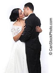 행복하다, 사랑, 결혼식 한 쌍