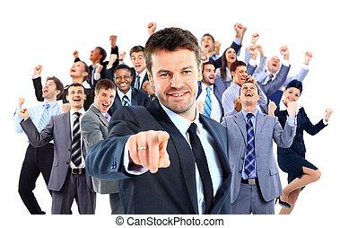 행복하다, 사업, group., 지도자, 점