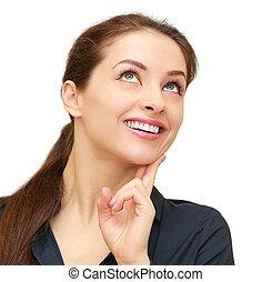 행복하다, 생각하는 여성, 위로 보는, 고립된, 백색 위에서, 배경., 클로우즈업, 초상