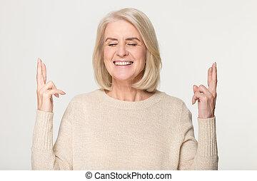 행복하다, 선, 희망, 손가락, 중앙, 여자, 교차점, 노인들, 운