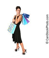 행복하다, 성적 매력이 있는, 쇼핑하고 있는 여성, 치고는, a, 특별한 기회