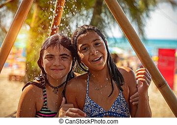 행복하다, 소녀, 2, 바닷가