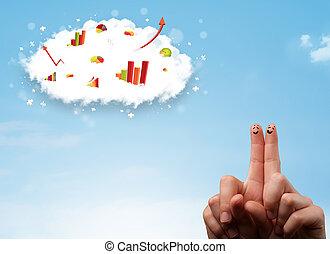행복하다, 손가락, 스마일리, 와, 그래프, 구름, 아이콘, 에서, 그만큼, 하늘